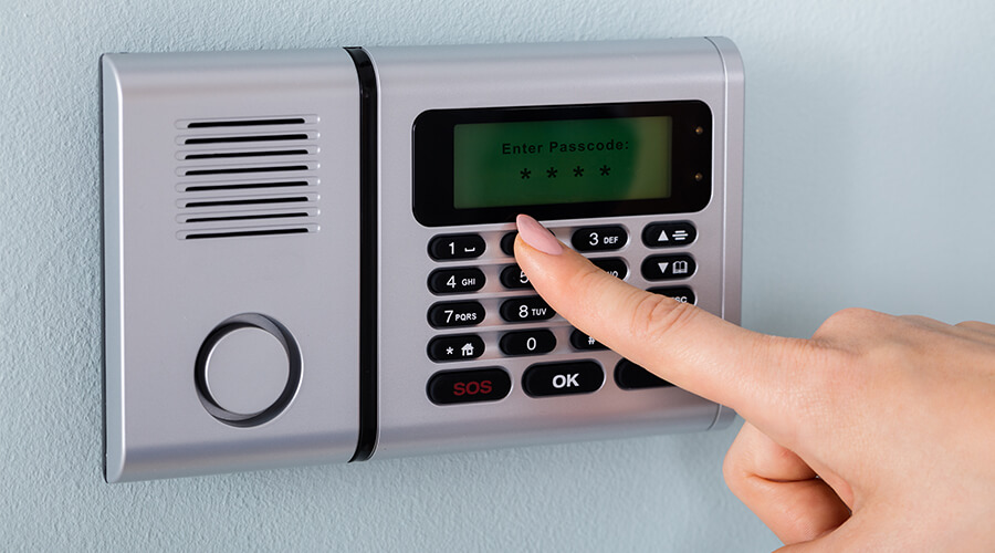 digital intruder alarm with passcode